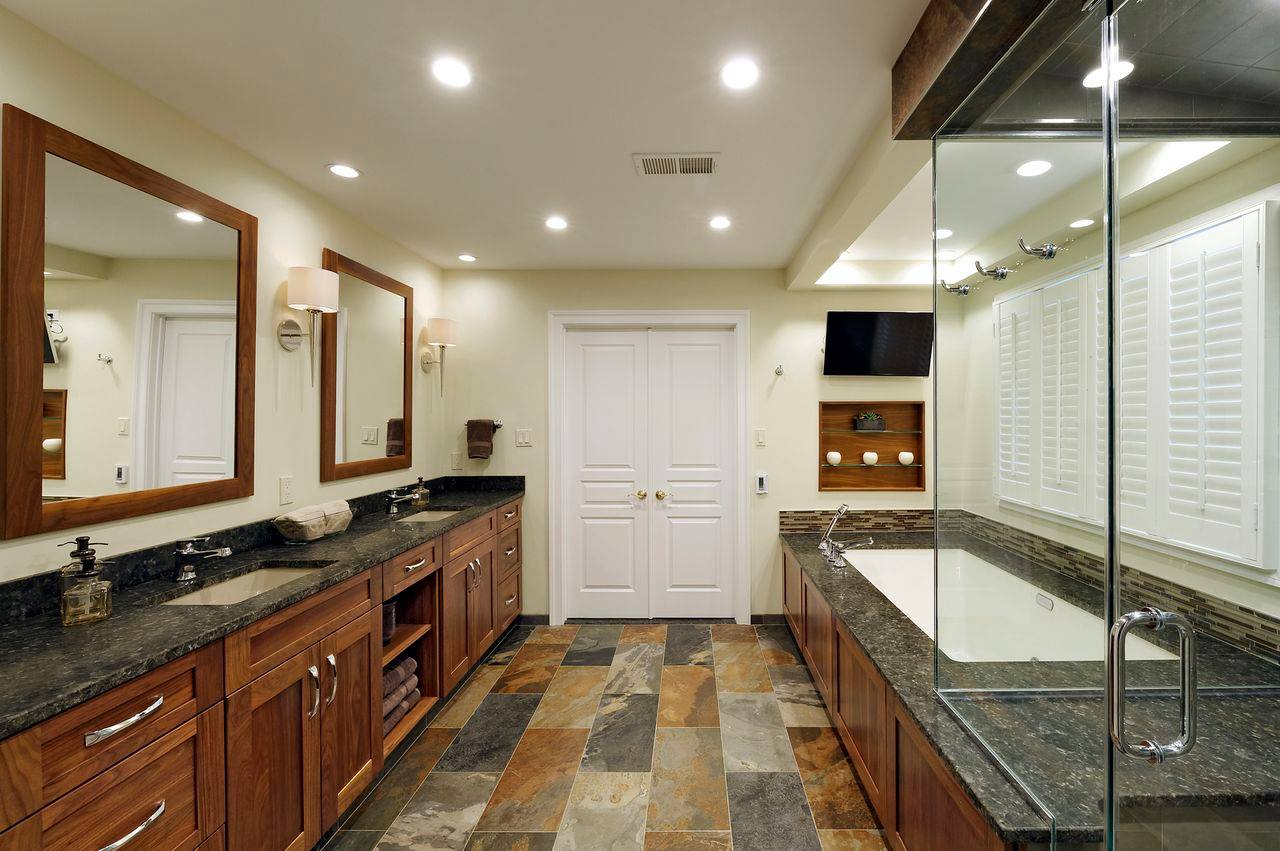 Photo of stone home flooring in a bathroom