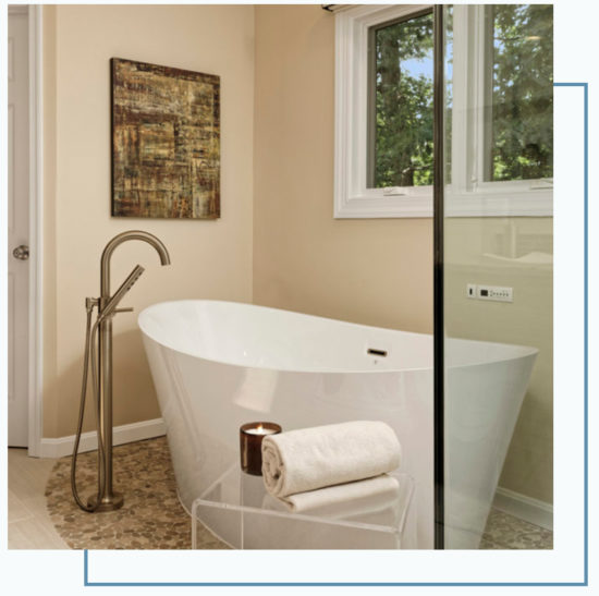 bathroom remodeling project with stand along tub