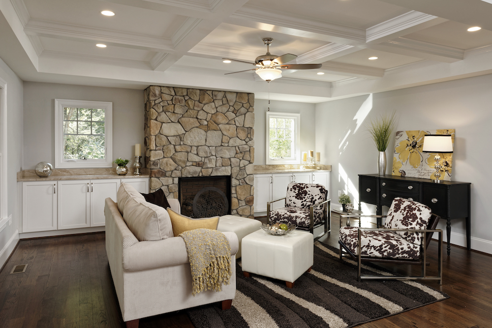 Image of a redesigned living room for home remodeling services